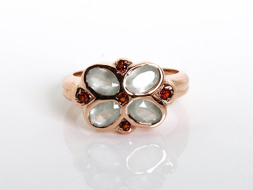 Flower Shape Ring with Aquamarine and Garnet Stones