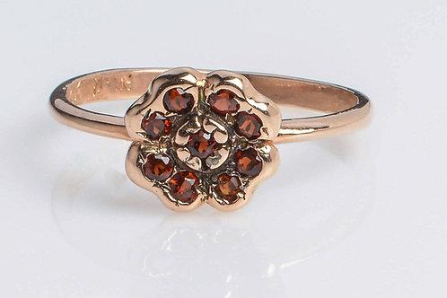 Posy Ring Garnet Vintage style