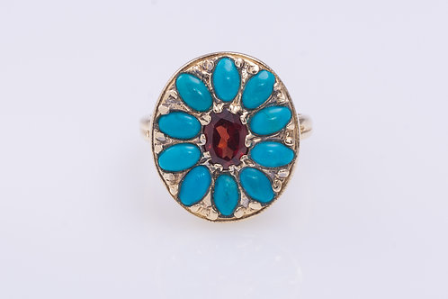 Turquoise and Garnet Flower Ring