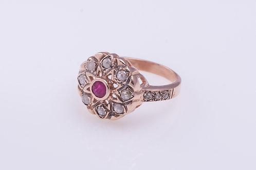 Ruby and Rose Cut Diamonds Mandala Flower Ring
