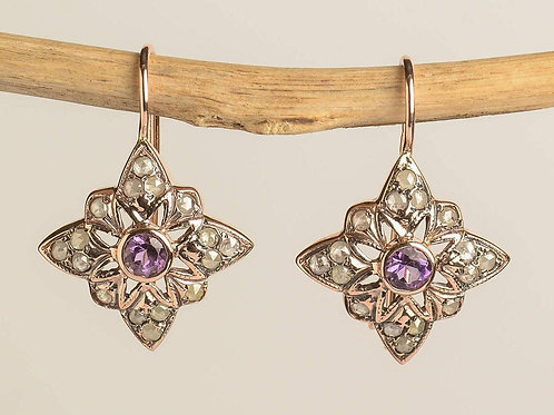 Star Shaped Drop Earrings with Amethyst