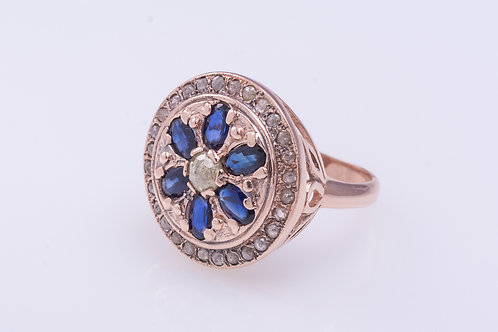 Sapphire and Rose Cut Diamonds Round Ring