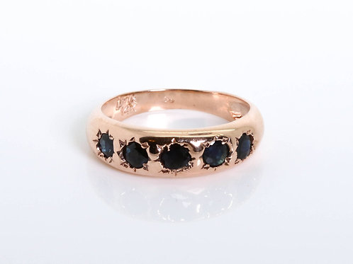 5 Blue Sapphire Stones Ring
