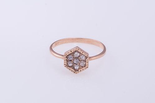 Rhombus Rose Cut Diamonds Engagement Ring