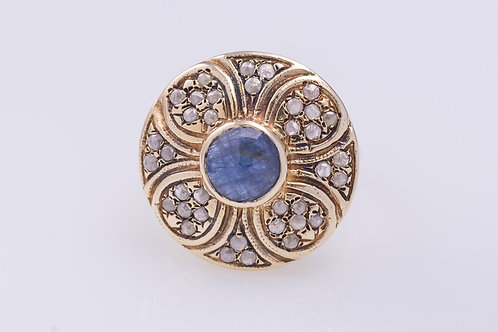 Sapphire and Rose Cut Diamonds Flower Ring