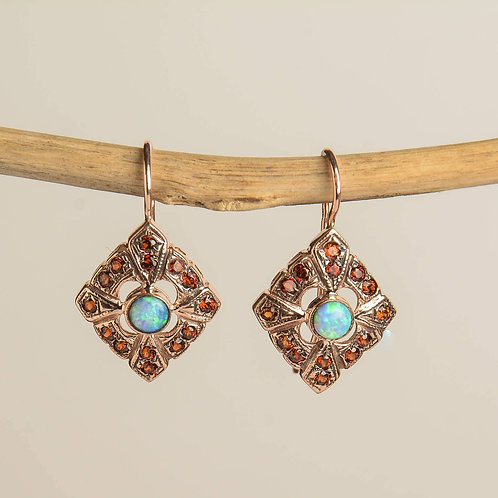 Rose Gold Rhombus Earrings Opal and Garnet