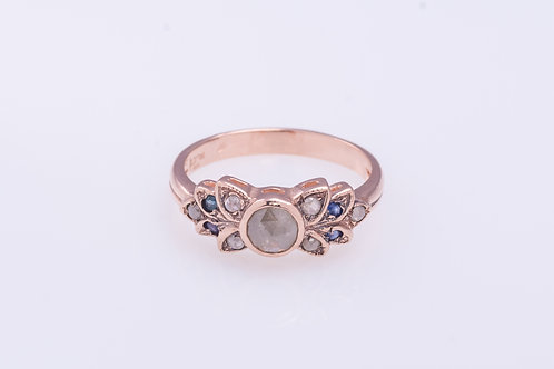 Rose Cut Diamonds and Sapphire Flower Ring