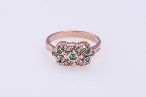 Emerald and Rose Cut Diamonds Butterfly Ring