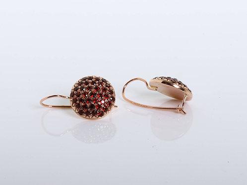 Round Garnet Earrings