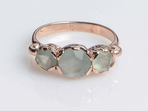 Signature 3-Stone Milky Aquamarine Ring