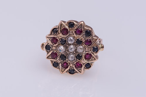 Sapphire, Ruby & Diamonds Cocktail Ring