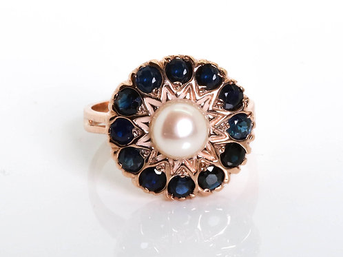 Pearl and Sapphire Flower Ring