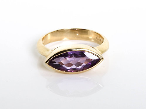 Navette Ring with Amethyst Marquise