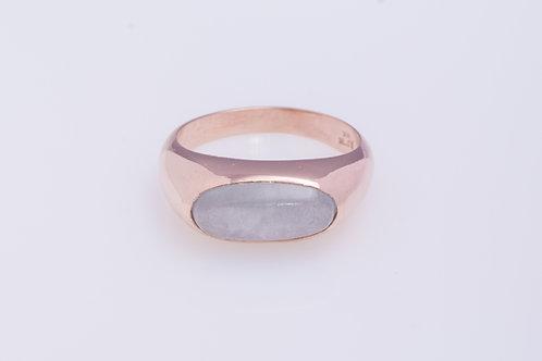 Oval Milky Aquamarine Statement Ring