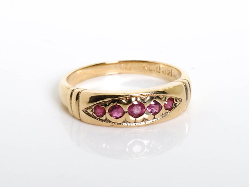 5 Ruby Stones in a Eye-Shape Ring