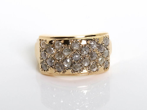 Vintage style Gray Rose-Cut Diamonds Ring