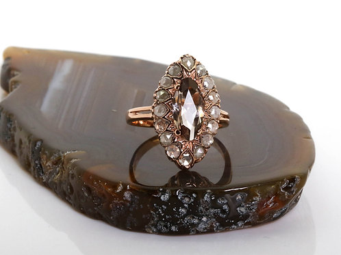 Smoky Topaz Marquise Ring with a Rose Cut Diamonds Frame