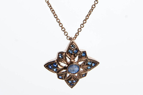 Rhombus Sapphire Pendant with Necklace