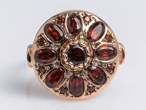 Garnet Oval Flower Shaped Ring