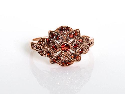 Vintage Leaf Ring with Garnet
