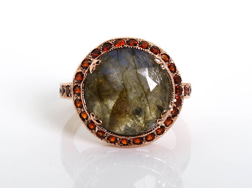 Faceted Round Labradorite and Garnet Cocktail Ring