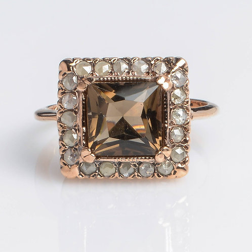 Square Smoky Topaz Ring with Rose Cut Diamonds