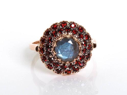 Labradorite and Garnet Princess Vintage Ring