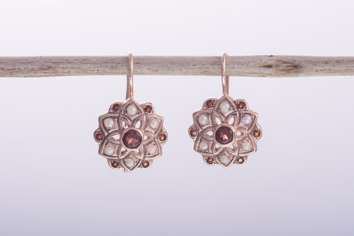 Garnet and Pearl Flower Earrings