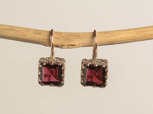 Square Lace-like with Garnet Drop Earrings