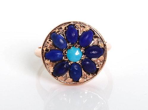 Round Flower Lapis Lazuli Ring