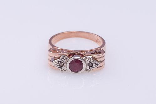 Garnet and Rose Cut Diamond Bow