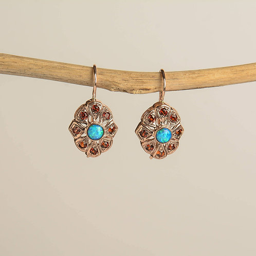 Lace Star Handmade Drop Earrings with Opal and Garnet Stones