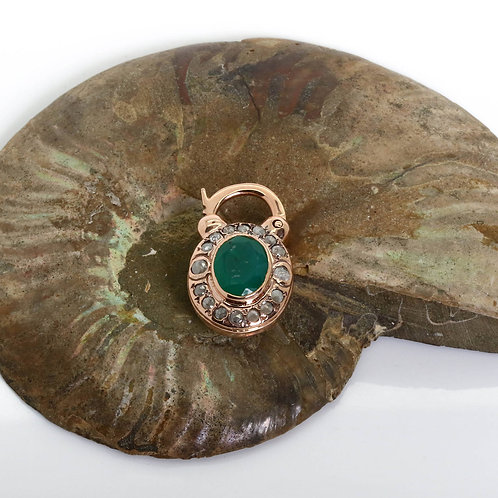 Oval Padlock with Rose Cut Diamonds and a Green Agate