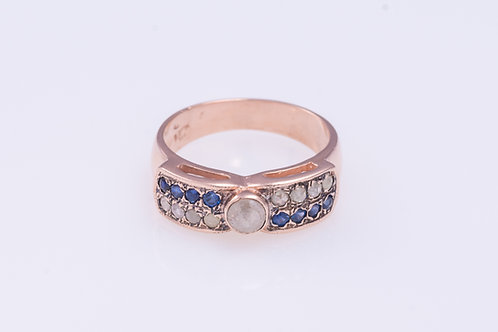 Sapphire and Rose Cut Diamonds Bow Ring