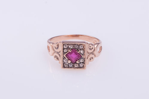 Square Ruby and Rose Cut Diamonds Ring