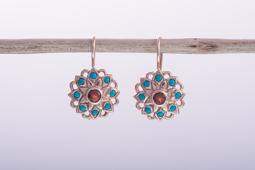 Turquoise and Garnet Mandala Earrings