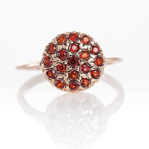Button shaped Red Gemstone Ring