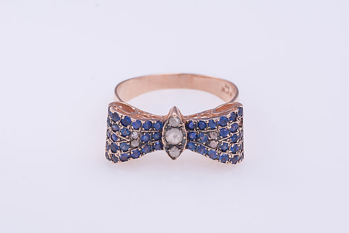 Bow Tie Sapphire and Rose Cut Diamonds Ring