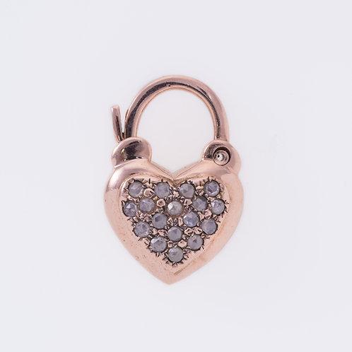 Rose Cut Diamonds Heart Padlock