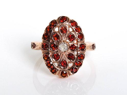 Oval Red Garnet Floral Ring