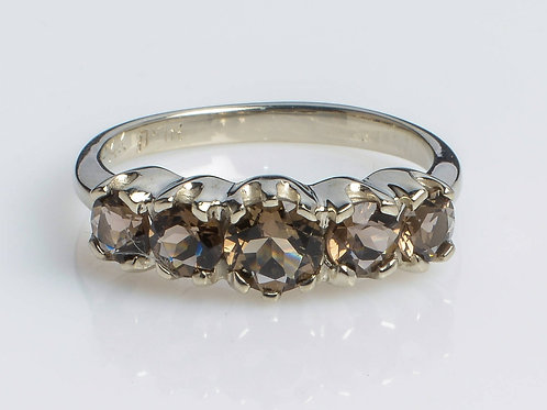 Crown five-stone Ring with Smoky Topaz