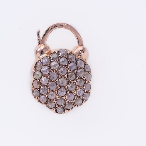 Hexagon Rose Cut Diamonds Padlock set in 14K Rose Gold