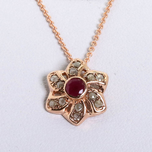 Ruby and Rose-Cut Diamonds Charm with Necklace