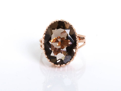 Oval Smoky Topaz Statement Ring
