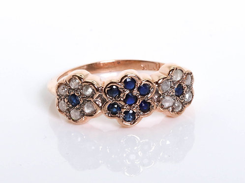 3 Flower Ring with Sapphire and Rose-Cut Diamonds