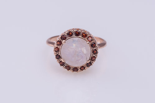Moonstone and Garnet Cocktail Ring