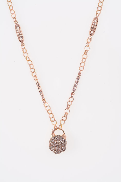 Rhombus and Leaves Rose Gold Necklace