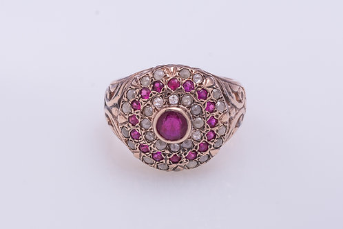 Round Ruby and Rose Cut Diamonds Cocktail Ring