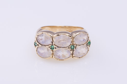 2-row Moonstone and Emerald Ring