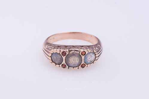 Labradorite Row and Garnet Ring